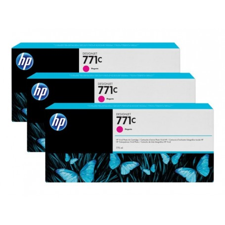 HP 771C - Pack de 3 cartouches d'impression magenta 775ml (B6Y33A)