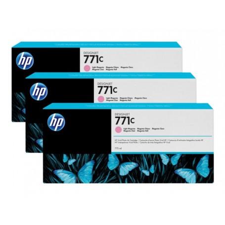 HP 771C - Pack de 3 cartouches d'impression magenta clair 775ml (B6Y35A)