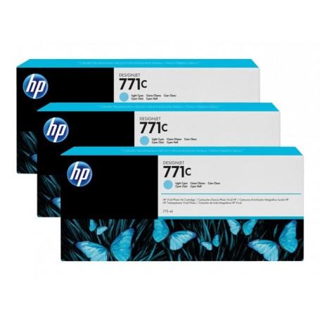 HP 771C - Pack de 3 cartouches d'impression cyan clair 775ml (B6Y36A)