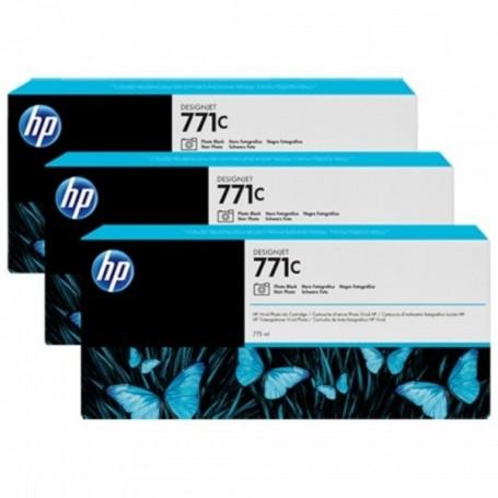 HP 771C - Pack de 3 cartouches d'impression noir photo 775ml (B6Y37A)