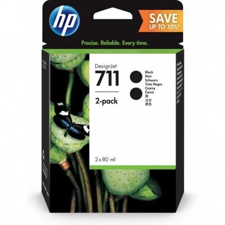 HP 711 - Pack de 2 cartouches d'impression noir 80ml (P2V31A)