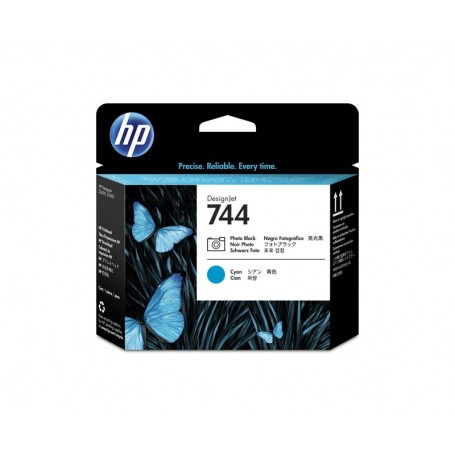 HP 744 - Tête d'impression noir photo et cyan (F9J86A)