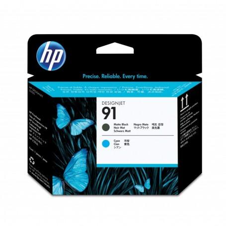 HP 91 - Tête d'impression noir mat et cyan (C9460A)